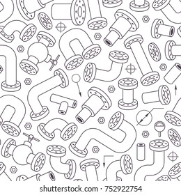 Seamless Pattern with Pipes Outline Elements. Modern Vector Background: Plumbing Symbols on White. Industrial Style Design