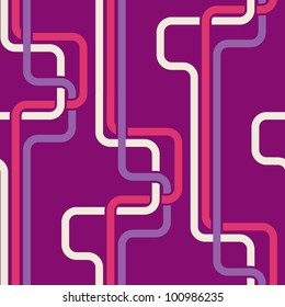 Seamless pattern PIPES, purple color variation. Pattern color swatch included