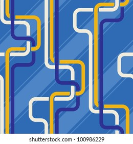 Seamless pattern PIPES and stripes, blue color variation. Pattern color swatch included