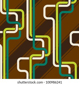 Seamless pattern PIPES and stripes, green and brown color variation. Pattern color swatch included