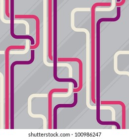 Seamless pattern PIPES and stripes, grey and pink color variation. Pattern color swatch included