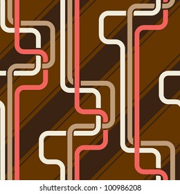 Seamless pattern PIPES and stripes, pink and coffee brown color variation. Pattern color swatch included