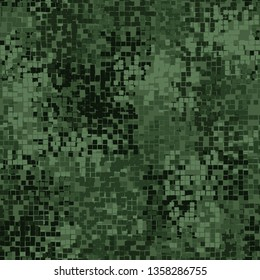 Seamless pattern. Pixel camouflage for the jungle. Swamp green shades. Editable.