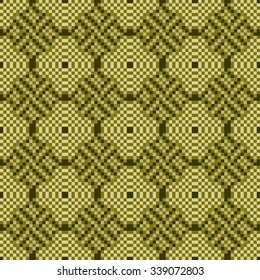 Seamless pattern with pixel geometrical figures