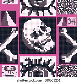 Seamless pattern of pixelated eye, bones and skull. Vector illustration great for patterns, vintage design, and wallpaper.