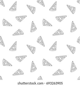 Seamless pattern with pizza.  A seamless food texture.