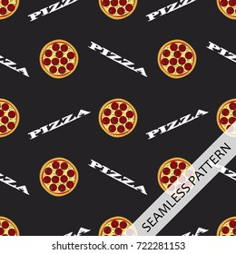 seamless pattern with pizza on a dark background and written in chalk pizza