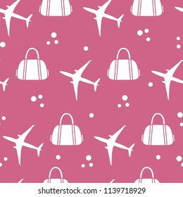 Seamless pattern with planes and bags. Design for poster or print.