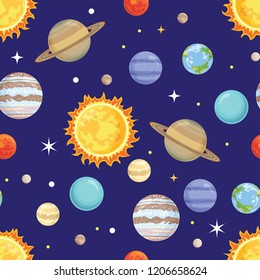 Seamless pattern with planets of the solar system on a dark blue background. Vector illustration of space in cartoon flat style.