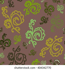 Seamless pattern of plant elements. Desaturated dark red background. It can be used for printing on packaging, bags, cups, laptop, etc. Vector.