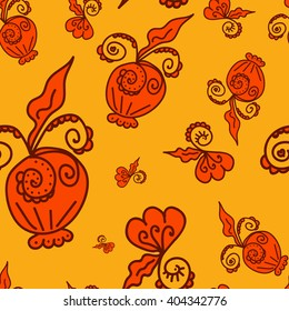 Seamless pattern of plant elements Strong-orange background. It can be used for printing on packaging, bags, cups, laptop, etc. Vector illustration.