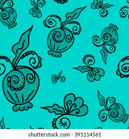 Seamless pattern of plant elements turquoise background. It can be used for printing on packaging, bags, cups, laptop, etc. Vector illustration.