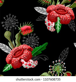 Seamless pattern with plant predators such as Venus flycatcher, sundew and others. Unique flowers botanical illustration.