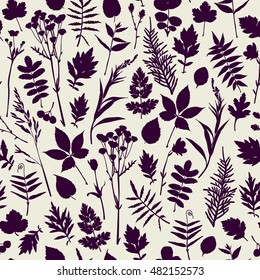 Seamless pattern with plants. Freehand drawing
