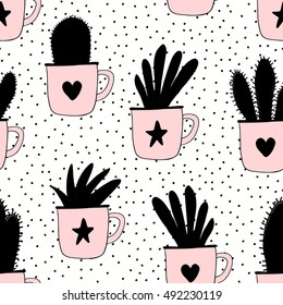 Seamless pattern with plants in mugs in black and pastel pink on dots texture background.