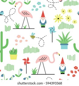Seamless pattern with plastic flamingos and garden gnomes. Bright back yard background.