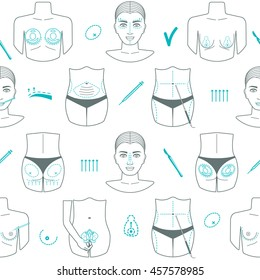 Seamless pattern of plastic surgery. Flat design. Vector illustration