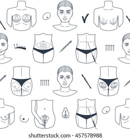 Seamless pattern of plastic surgery with outline icons. Flat design. Vector illustration