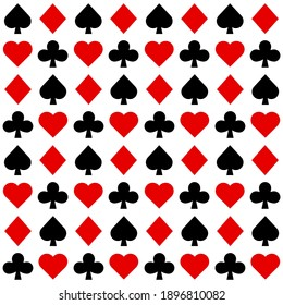 Seamless pattern with Playing card suits. Hearts, Spades, Diamonds, Clubs. Endless background. Vector illustration.
