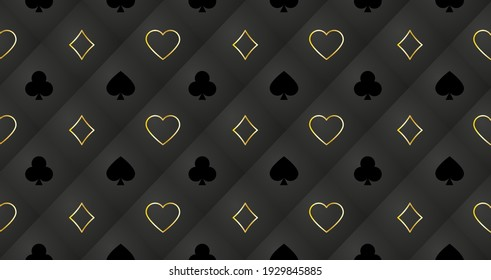 Seamless pattern with playing cards signs: hearts, tambourine of spades and clubs. Trendy background for banners, posters, fabrics, wallpapers, etc. Vector.