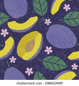 Seamless pattern. Plum juicy fruits leaves and flowers on shabby background.