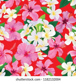 Seamless pattern of plumeria with hibiscus flowers background. Vector set of exotic tropical garden for holiday invitations, greeting card and fashion design.