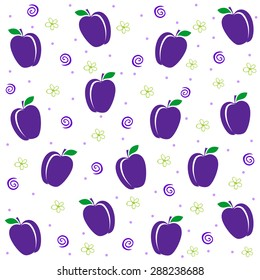 Seamless pattern with plums. Summer fruit illustration. Vector Illustration