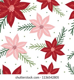 Seamless pattern with poinsettia design