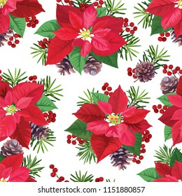 Seamless pattern of Poinsettia flowers in red and green color with pine and berries on white background. Vector set of Christmas elements for holiday invitations, greeting card and advertising design.