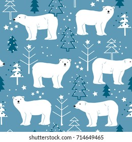 seamless pattern with polar bear vector illustration