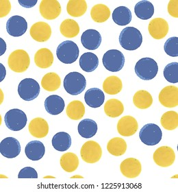 Seamless pattern polka dots in blue and yellow colors. Elements are not cropped. Pattern under the mask. Perfect for your design. Vector.