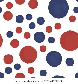 Seamless pattern polka dots in blue and red colors. Elements are not cropped. Pattern under the mask. Perfect for your design. Vector.