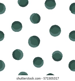 Seamless pattern polka of green dots on a white background . Vector.