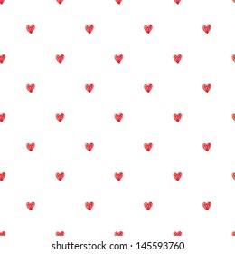 Seamless pattern. Polka heart texture in doodle style. Vector illustration