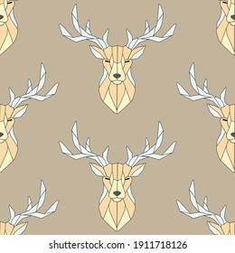 Seamless pattern polygonal deer head. Linear deer, vector illustration, print art, abstraction, nature. Geometric background low poly deer line on light brown background.