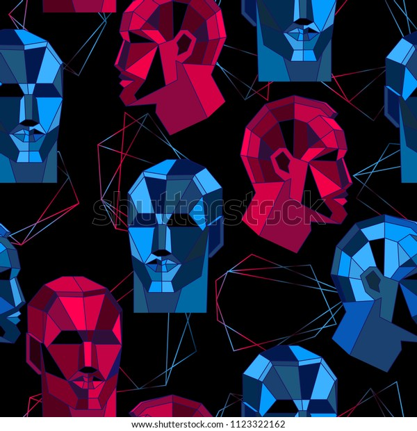 Seamless pattern with polygonal human face and shapes. Abstract futuristic concept design. Vector illustration