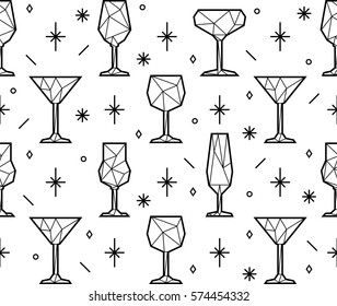 Seamless pattern of polygonal triangle alcoholic glasses, champagne, martini and wine glass. Low poly style. Party background. eps10