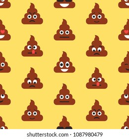 Seamless pattern with poop emojies. Emoticons background. Texture. Vector illustration