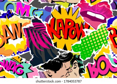 Seamless pattern pop art comics style. Collage of torn pieces from comic magazine. Creative art design backgrounds. Vector illustration.