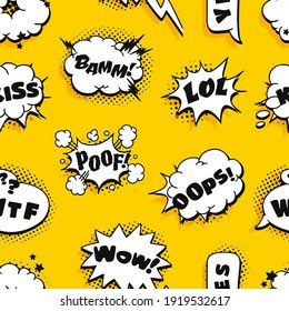 Seamless Pattern with Pop art speech bubble and text. Cartoon style vector collection of frames and Words. Comic illustration on halftone background