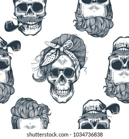 Seamless pattern in pop art style with skeleton womens heads, fashion scarf and hairstyle, against triangle and purple stripes on background. Vector illustration