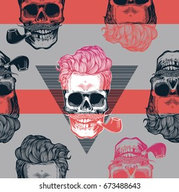 Seamless pattern in pop art style with skeleton heads wearing cool sunglasses, hairstyle, mustache and smoking tobacco pipes against triangle and purple stripes on background. Vector illustration.