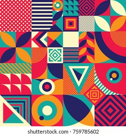 Seamless Pattern of Pop and Colorful Abstract Geometric Shape. Tile Decor Wallpaper