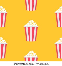 Seamless Pattern Popcorn. Cinema icon Yellow background. Food texture. Flat design style. Vector illustration.