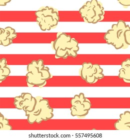 Seamless pattern with popcorn. Pop corn background.