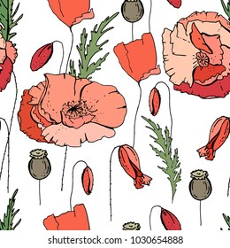 Seamless pattern with poppy. Endless texture for floral design