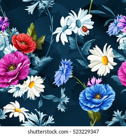 Seamless pattern of poppy flowers with chamomile (camomile), leaves,  cornflowers and ladybug on dark blue. Vintage style. Vector stock.