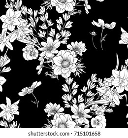 Black and white images stock photos vectors shutterstock seamless pattern with poppy flowers daffodil anemone violet mightylinksfo