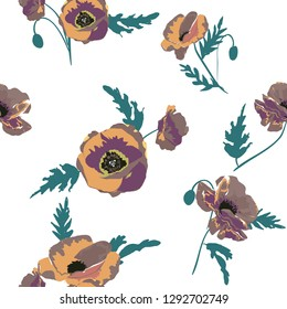 Seamless pattern with  poppy flowers .floral background