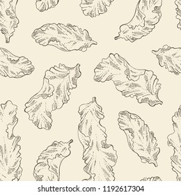 Seamless pattern with porphyra: porphyra seaweed. Red algae. Edible seaweed. Vector hand drawn illustration.